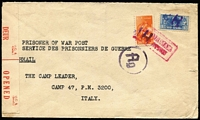 Lot 1721 [1 of 2]:C.1943 Red Cross Society (Johannesburg) POW censored airmail cover to Italy with Reduced-Size War Effort 3d & 6d tied by 'J.H.' handstamps in violet, 6d value overstruck with boxed airmail handstamp, currency control cachet on face, fine condition.