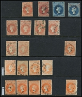 Lot 350 [1 of 3]:1850s-1912 Accumulation with imperf 2d x2 & 6d x2, 1858-69 Roulettes with 2d x16, 6d x3, 10d on 9d & 1/- brown plus 9d forgery, perforated issues to 2/- x7, duplicated 'Long Toms' to 2/6d, plus range of 'OS' overpints and some 'SA' perfins. Condition generally fine. (100s)