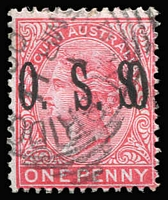 Lot 1073:1899-1901 Officials: 1d variety 'O.S.' Overprint doubled SG #O81b, Murray Bridge squared-circle datestamp, Cat £475.
