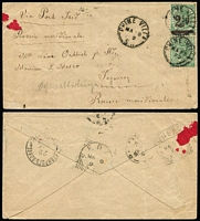 Lot 1169 [3 of 11]:1874-1911 Postal History Group with covers x13 (four are registered) including 1888 (Jun 8) Adelaide to USA franked at 6d and showing US tax handstamp, 1892 (Mar 4) Rhine Villa to Russia franked at 3½d, 1892 (Mar 11) Murray Bridge to Melbourne franked at 2d & bearing Victoria 1d Postage Due, 1903 (Oct 23) registered Adelaide to USA bearing 2d Sideface and 3d Thin 'POSTAGE' Long Toms x2 and 1910 (Dec 12) cover Port Augusta to Dunedin bearing 1d Sideface and 4d Thin 'POSTAGE' Long Tom; also OHMS Registration Envelope, stationery wrapper and a postcard. A most interesting selection. (16)
