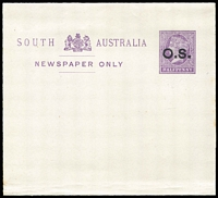 Lot 1075 [2 of 5]:Mint & Used Array: with Postal Cards unused x50+ including optd 'SPECIMEN' x2 & optd 'O.S.' x5, used x8 including CTO x2 & optd 'OS' x5; Wrappers used x50 including 42 optd 'OS', unused x17 including 2 optd 'OS' plus Envelopes x2 unused; lots of duplication (many on different stock types), condition variable. Worthy of closer inspection. (120 approx)