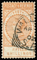 Lot 729:1886-96 'POSTAGE & REVENUE' 15/- brownish-yellow P10 SG #198, 1902 Wallaroo squared-circle datestamp, Cat £375.