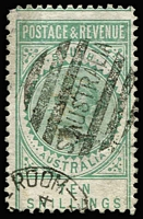 Lot 727:1886-96 'POSTAGE & REVENUE' 10/- green P10 SG #197, Ship Mail Roon duplex cancel, Cat £75.