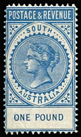 Lot 731:1886-96 'POSTAGE & REVENUE' £1 blue P11½-12½ SG #199a, MVLH, Cat £500. Very fresh.