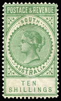 Lot 728:1886-96 'POSTAGE & REVENUE' 10/- green P11½-12½ SG #197a, fine mint, Cat £250.