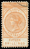 Lot 730:1886-96 'POSTAGE & REVENUE' 15/- brownish-yellow P10 SG #198 with small-part Melbourne CTO cancel showing last 'E' of 'MELBOURNE' (Adelaide 'E' has longer upper & lower bars), large-part o.g., Cat £375+.