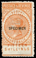 Lot 833:1886-96 'POSTAGE & REVENUE' Perf 11½-12½ 15/- brownish-orange with 12½mm 'SPECIMEN' overprint, the 'FIFTEEN/SHILLINGS' value Misplaced into the design, usual rough perforations, large-part og. [See Williams at page 43 who states that the 15/-, 50/- & £5 values all exist with value displacements]