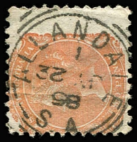 Lot 1290:Allandale: (A2) almost complete squared-circle strike on QV 2d orange, [Rated 3R].  PO 30/3/1860; renamed Allandale North PO c.1865.