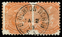 Lot 1291:Brighton North: (A2) almost very fine & largely complete type F1 strike on 2d orange pair, ERD(?), [Rated 4R].  PO 1/8/1878; closed 30/9/1882.