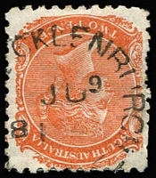 Lot 1296:New Mecklenburg: (B2) large complete Type UF3 'NEW MECKLENBURGH/JU9/81' datestamp on 2d orange, Rated 4R.  PO 14/4/1866; renamed Gomersal PO 1/7/1918.