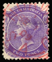 Lot 861:Norwood: (B2) clearly discernible Type SC6 squared-circle strike in red on 2d violet.  PO 1/8/1853.