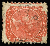 Lot 1298:Reeve's Plains: (C2) discernible Type UF5 strike on 2d orange, [Rated 5R]  PO 11/11/1865; closed 31/12/1959.