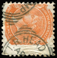 Lot 1300:T.R. Head Camp: (A3) part strikes on squared-circle datestamp on 2d orange, [Rated 3R]  PO c.1888; closed c.1891.