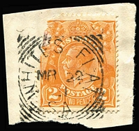 Lot 1253:White's Flat: (B2) almost complete 'MR22/21' squared-circle datestamp tieing KGV 2d orange (defective) to small piece. Rated 3R.  PO c.1898; replaced by White Flat PO c.1950.