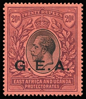 Lot 1865:1917-21 'G.E.A.' Overprints 20r black & purple/red SG #61, fine mint, Cat £325.