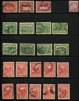 Lot 383 [2 of 3]:Array on Hagners with imperf Chalons 1d x2, 4d x4, 6d x2 & 1/-, perforated Chalons 1d x6 (including strip of 3), 6d x6 & 1/- x3; also duplicated Pictorials to 6d including 'OS', 'A' & 'T' perfins; mixed condition with mostly pen/fiscal cancel on the Chalons. (90)