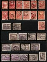 Lot 383 [3 of 3]:Array on Hagners with imperf Chalons 1d x2, 4d x4, 6d x2 & 1/-, perforated Chalons 1d x6 (including strip of 3), 6d x6 & 1/- x3; also duplicated Pictorials to 6d including 'OS', 'A' & 'T' perfins; mixed condition with mostly pen/fiscal cancel on the Chalons. (90)