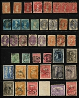 Lot 383 [1 of 3]:Array on Hagners with imperf Chalons 1d x2, 4d x4, 6d x2 & 1/-, perforated Chalons 1d x6 (including strip of 3), 6d x6 & 1/- x3; also duplicated Pictorials to 6d including 'OS', 'A' & 'T' perfins; mixed condition with mostly pen/fiscal cancel on the Chalons. (90)