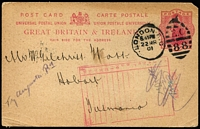 Lot 1254 [1 of 5]:Miscellaneous Assortment including 1901 inwards Postal Card from UK with rare 'NOT KNOWN' handstamp in red, 1903 Gormanston to Hobart cover with 1d & 2d Pictorials, taxed with 2d added, also Double perfs, oversized/wing margin stamps, etc. (14 stamps, cover & card)