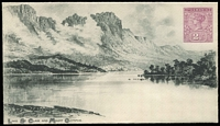 Lot 1309:1898 Scenic Issue 2½d purple Tablet HG #B3 view of 'Lake St Clair and Mount Olympus', printed by Waterlow & Sons, fine unused. Only 309 issued.
