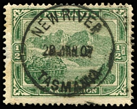 Lot 1281:New River: (A1) fine and complete strike of Type 2 '29JAN07' datestamp on ½d Pictorial, Rated 4R.  RO 1/12/1906; closed 5/12/1907.