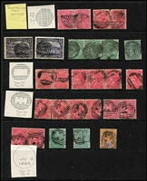 Lot 1282 [2 of 14]:TPO Cancels Selection: on Hagners including Type E killer types, Type F dumb cancels (one on piece with Type J 1884 datestamp alongside) & Type G altered BN cancel with '41' partially removed; also 1895 commercial use of 1d Postal Card from Ross to Launceston tied by Type G cancel with 'TML RY No 2' datestamp alongside, 1899 use of 2d Stationery Envelope tied by Type F cancel again with 'TML RY No 2' datestamp alongside, plus six other cards with TPO datestamps. (30 stamps + 10 covers/cards).