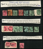 Lot 1282 [3 of 14]:TPO Cancels Selection: on Hagners including Type E killer types, Type F dumb cancels (one on piece with Type J 1884 datestamp alongside) & Type G altered BN cancel with '41' partially removed; also 1895 commercial use of 1d Postal Card from Ross to Launceston tied by Type G cancel with 'TML RY No 2' datestamp alongside, 1899 use of 2d Stationery Envelope tied by Type F cancel again with 'TML RY No 2' datestamp alongside, plus six other cards with TPO datestamps. (30 stamps + 10 covers/cards).
