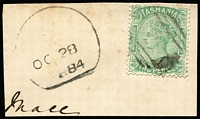 Lot 1282 [1 of 14]:TPO Cancels Selection: on Hagners including Type E killer types, Type F dumb cancels (one on piece with Type J 1884 datestamp alongside) & Type G altered BN cancel with '41' partially removed; also 1895 commercial use of 1d Postal Card from Ross to Launceston tied by Type G cancel with 'TML RY No 2' datestamp alongside, 1899 use of 2d Stationery Envelope tied by Type F cancel again with 'TML RY No 2' datestamp alongside, plus six other cards with TPO datestamps. (30 stamps + 10 covers/cards).