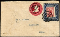 Lot 1639 [1 of 2]:1901 (Jul 9) use of NZ QV 1d carmine PTPO Stationery Envelope for Hancock's 'Bismark Lager Beer', with 1d Universal added and affixed within an attractive blue advertising collar, cancelled with Nukualofa '9JL01' datestamps, gorgeous oval advertising label on reverse tied by datestamp, addressed locally. Wonderful item.