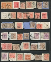 Lot 355 [3 of 3]:1850s-1913 Collection on Hagners with imperf 1d Half-Lengths x3, 6d Woodblocks x9, 2d QOT, 1d QOT, rouletted 6d QOT x2, range of imperf, rouletted & perforated Emblems, Beaded Ovals including 3d maroon x2, Laureates to 5/- x4 including 10d grey, duplicated Middle Period including surcharges, Late Period to 5/- including postage dues; also postmarks & official perfins. (100s)