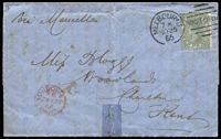 "Lot 1353:1865 (Nov 25) entire to England ""Via Marseilles"" with rare franking of 10d grey Laureates tied by Melbourne duplex, London transit datestamp in red on face & on reverse, mild aging & small tape repair at base. [Kellow states at p.174 ""Covers themselves are also of considerable rarity with less than 10 recorded...""]"