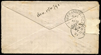 "Lot 1313 [2 of 7]:1891-1910 Postage Due Cover Group comprising [1] 1891 envelope from USA to Melbourne, franked at 12c and with 'DUE 12', 'INSUFFICIENTLY/PREPAID' and oval-framed 'T' handstamps, bearing 6d blue and brown-lake with crayon stroke cancel; [2] 1892 1d envelope from Melbourne to Hawthorn, ""Refused"" with 2d blue and brown-lake added; [3] 1899 card from England to Dunolly franked at 1d and charged 3d with 1d & 2d red and green Dues added tied by Dunolly '239' duplex; [4] 1907 stampless postcard charged 2d Due, ""Refused"" and with boxed 'UNCLAIMED AT/BENALLA' handstamp, and [5] 1910 large piece from England to Melbourne marked ""Newspaper"", franked at 1d and with ½d red & green pair added & cancelled at South Melbourne; mixed condition. Good lot. (5)"