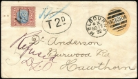 "Lot 1313 [3 of 7]:1891-1910 Postage Due Cover Group comprising [1] 1891 envelope from USA to Melbourne, franked at 12c and with 'DUE 12', 'INSUFFICIENTLY/PREPAID' and oval-framed 'T' handstamps, bearing 6d blue and brown-lake with crayon stroke cancel; [2] 1892 1d envelope from Melbourne to Hawthorn, ""Refused"" with 2d blue and brown-lake added; [3] 1899 card from England to Dunolly franked at 1d and charged 3d with 1d & 2d red and green Dues added tied by Dunolly '239' duplex; [4] 1907 stampless postcard charged 2d Due, ""Refused"" and with boxed 'UNCLAIMED AT/BENALLA' handstamp, and [5] 1910 large piece from England to Melbourne marked ""Newspaper"", franked at 1d and with ½d red & green pair added & cancelled at South Melbourne; mixed condition. Good lot. (5)"