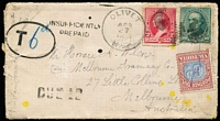 "Lot 1313 [1 of 7]:1891-1910 Postage Due Cover Group comprising [1] 1891 envelope from USA to Melbourne, franked at 12c and with 'DUE 12', 'INSUFFICIENTLY/PREPAID' and oval-framed 'T' handstamps, bearing 6d blue and brown-lake with crayon stroke cancel; [2] 1892 1d envelope from Melbourne to Hawthorn, ""Refused"" with 2d blue and brown-lake added; [3] 1899 card from England to Dunolly franked at 1d and charged 3d with 1d & 2d red and green Dues added tied by Dunolly '239' duplex; [4] 1907 stampless postcard charged 2d Due, ""Refused"" and with boxed 'UNCLAIMED AT/BENALLA' handstamp, and [5] 1910 large piece from England to Melbourne marked ""Newspaper"", franked at 1d and with ½d red & green pair added & cancelled at South Melbourne; mixed condition. Good lot. (5)"