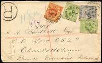 Lot 951 [1 of 2]:1899 (Dec 5) cover to Prince Edward Island with 6d blue, 1½d apple-green x2 & 1½d brown-red/yellow paying 7½d triple foreign letter-rate plus 3d registration, on reverse Vancouver & Montreal transits and Charlottetown arrival datestamp. Attractive tri-colour franking and a rare destination for the period.