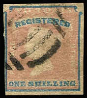 Lot 1322:1854-55 Imperf Calvert Woodblocks 1/- Registered rose-pink & blue SG #34 Die 2 ('V' & 'R' absent under 'REGISTERED'), complete margins, very close at left, tidy BN cancel, Cat £200+. [Kellow states that Die 2 stamps are 3 to 4 times scarcer than Die 1]