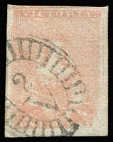 Lot 1316:1854-57 Half-Length Campbell & Fergusson 1d brick-red SG #26a, close to huge margins, tidy BO '2/V' cancel, very fine, Cat £110.