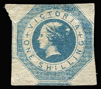 Lot 1314:1854 Imperf 1/- Octagonal SG #25, couple of faint bends, shaved at top and just shaved at right, fragments of adjoining stamps at left & at base, without gum, Cat £1,000.