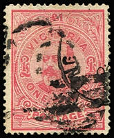 Lot 1339:1901-10 'POSTAGE' Wmk 4th V/Crown Perf 12x12½ or 12½ £1 carmine-rose SG #399, well-centred, slightly smudged English Mail TPO datestamp, Cat £130.