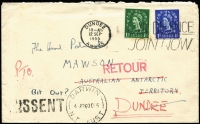 Lot 880:1955 (Sep 12) incoming envelope from Scotland addressed to Mawson with 'MISSENT' handstamp and 'DARWIN/4-A26OC55/N.T.-AUST' alongside, 'RETOUR' handstamp in red, returned to Dundee.