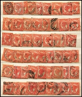 Lot 369 [2 of 4]:Assortment in Stockbook with SA including imperf 2d, perforated 6d with 'COLTON' datestamp, 5d on 6d P10 strip of 3 mint, also Queensland with few Chalons, Sidefaces to 2/- with heavily duplicated 1d & 2ds, Tasmania with Pictorials; possible postmark interest. (100s)