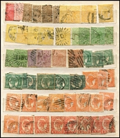 Lot 369 [3 of 4]:Assortment in Stockbook with SA including imperf 2d, perforated 6d with 'COLTON' datestamp, 5d on 6d P10 strip of 3 mint, also Queensland with few Chalons, Sidefaces to 2/- with heavily duplicated 1d & 2ds, Tasmania with Pictorials; possible postmark interest. (100s)