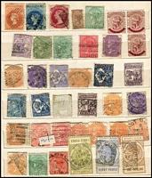 Lot 369 [1 of 4]:Assortment in Stockbook with SA including imperf 2d, perforated 6d with 'COLTON' datestamp, 5d on 6d P10 strip of 3 mint, also Queensland with few Chalons, Sidefaces to 2/- with heavily duplicated 1d & 2ds, Tasmania with Pictorials; possible postmark interest. (100s)
