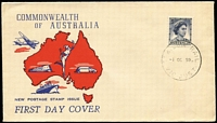 Lot 896:Wide World 1959 5d Blue QEII tied by St Kilda Rail (Vic) '1OC59' FD datestamp to generic 'Transport' cachet FDC. Very late usage for this cachet type.