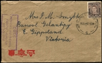 "Lot 673 [1 of 2]:Labuan (Sep-Oct) covers from Australian Serviceman to mother in Victoria, each with 3d brown KGVI tied by good strikes of 'No.6.AUST BASE P.O./' then in use at Labuan, earlier censored, later with enclosure "". . . still in North West Borneo . . ."", roughly opened. One of the scarcer cancels in use. (2)"