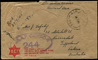 Lot 1039:Labuan 1945 (Jul 22) stampless cover (roughly opened) from Australian Serviceman to mother in Victoria, clear strike of scarce 'AIR FORCE P.O./234' datestamp then in use in Labuan, RAAF Censor 244 oval handstamp.