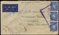 Lot 675:Middle East airmail cover emanating from Middle East to Underdale SA bearing KGVI 3d blue Die III vertical strip tied by fine strike of unlisted (by Proud) rectangular uncoded 'POSTAL UNIT/15 JAN 1942'.