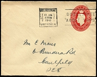 Lot 891 [1 of 2]:1937-42 2d Red KGVI Oval 1941 (Jan 13) use at Melbourne of very scarce KGVI 2d on cream wove paper (120x95mm) BW #EP41 (Cat $300), from same correspondence as that illustrated in Brusden White, possibly of STO origin (no unused are recorded); also definite STO QEII 1967 5c in unusual same format as the former, used (Aug 13 1968) at Melbourne. (2)