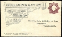 Lot 750:1919-21 1½d Brown KGV Star No 'POSTAGE' Die III BW #ES52 illustrated envelope for Gillespie & Co Ltd (Goulburn, NSW), small (reinforced) tear at upper-right, typed address to Wallerawang, however no postal markings, unpriced unused.
