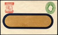 Lot 811 [2 of 2]:1928-37 1d Green KGV Oval BW #ES64 x2 for Medallion 'Custard Powders' or 'Saline', very fine unused. (2)